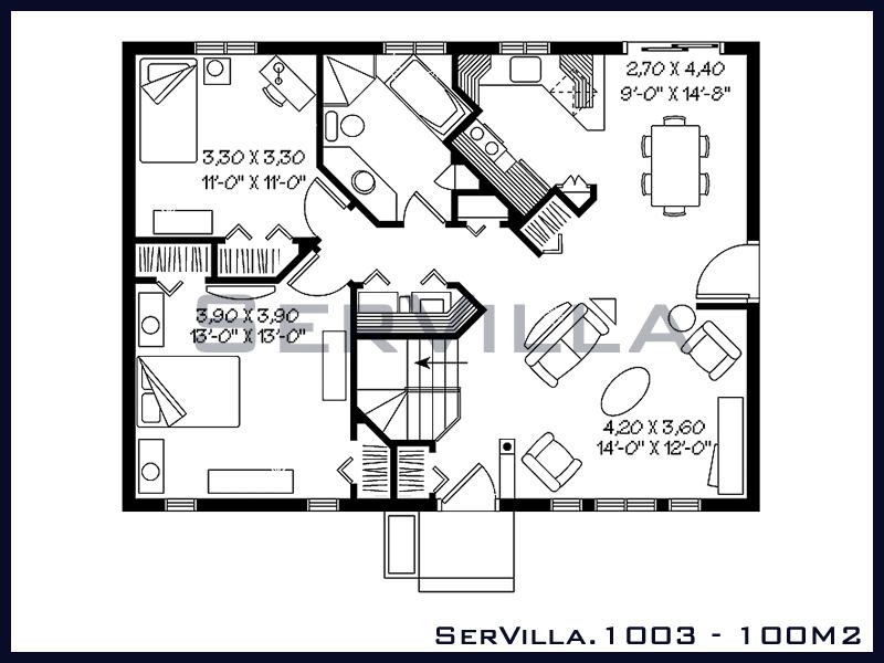 100 m2 Çelik Konstrüksiyon Villa Modeli 3