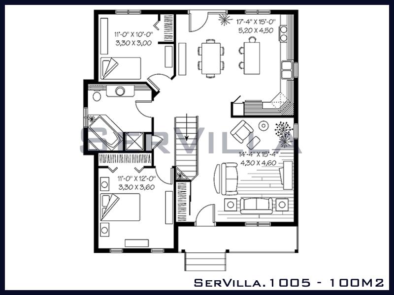 100 m2 Çelik Konstrüksiyon Villa Modeli 5