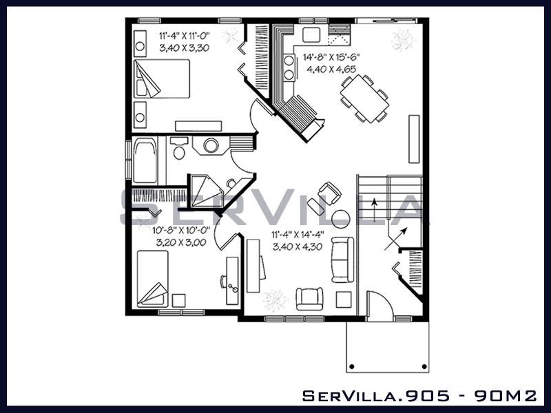 90 m2 Çelik Konstrüksiyon Villa Modeli 5